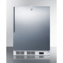 Built-in Undercounter ADA Compliant Frost-free All-freezer for General Purpose Use, With Digital Thermostat, White Cabinet, Stainless Steel Door, Thin Handle, and Lock