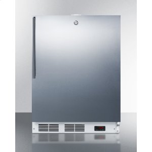 Built-in Undercounter ADA Compliant Frost-free All-freezer for General Purpose Use, With Digital Thermostat, White Cabinet, Stainless Steel Door, Thin Handle, and Lock -