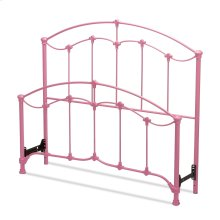 Amberley Kids Bed with Metal Duo Panels and Floral Medallions Accents, Pastel Pink Finish, Twin