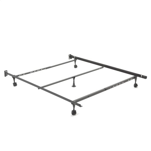 Restmore Adjustable Q45R Cross Support Bed Frame with Fixed Headboard Brackets and Glide Rug Roller Leg Combo, Full / Queen