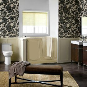Luxury Series 30x51-inch Right Drain Walk-In Tub  Combo Massage Tub  American Standard - Linen