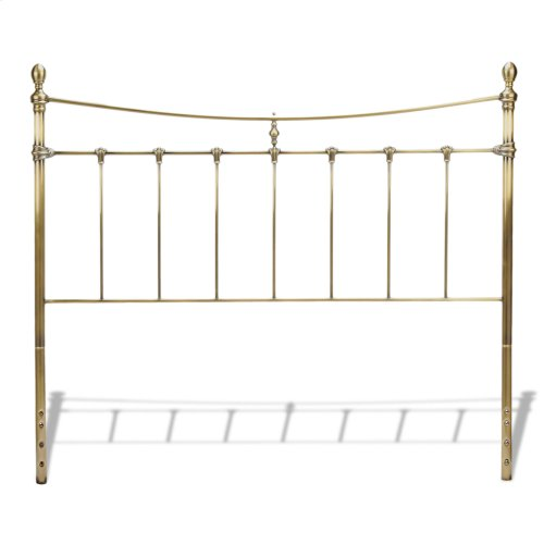 Leighton Metal Headboard Panel with Straight-Lined Spindles and Scalloped Castings, Glazed Brass Finish, Queen