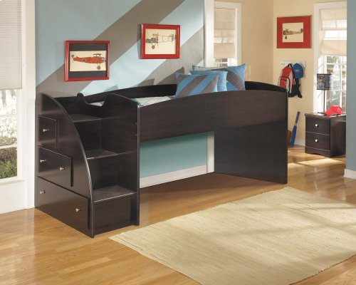 Twin/Twin Youth Loft Bed with Left Storage Steps