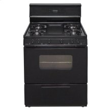 30 in. Freestanding Gas Range with 5th Burner and Griddle Package in Black