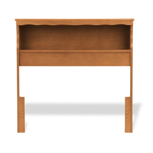 Barrister Wood Bookcase Headboard with Nightstand Top Surface and Retro Design, Bayport Maple Finish, Full