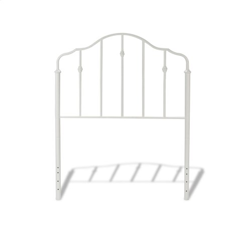 Lorna Fashion Kids Metal Headboard and Footboard Bed Panels with Delicate Arches and Accented Spindles, Warm White Finish, Twin