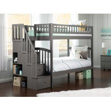 Westbrook Staircase Bunk Bed Twin over Twin in Atlantic Grey
