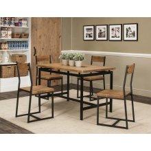 Adler 5pc Oak/blk Dining Set