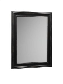"Traditional 24"" x 32"" Solid Wood Framed Bathroom Mirror in Antique Black"