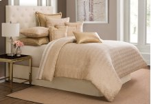 9 pc Queen Comforter Set Gold