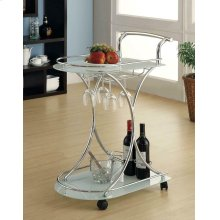 Contemporary Chrome Serving Cart