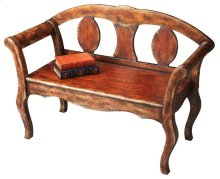 This attractive bench features a rich brown paint finish that is hand layered by a skilled artisan to yield an aged, crackled appearance. Physical distressing and gold highlights give the piece an Old World feel. The bench is crafted from poplar hardwood