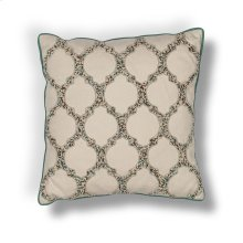 "L191 Beige Teal-trefoil Pillow 18"" X 18"""