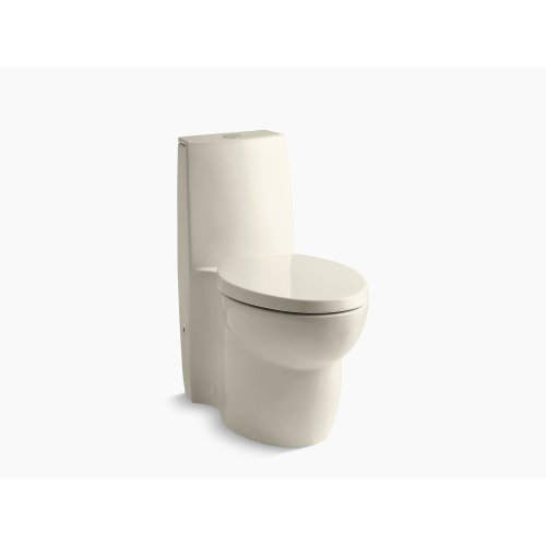 Almond Skirted One-piece Elongated Dual-flush Toilet With Top Actuator and Saile Quiet-close Toilet Seat With Quick-release Functionality