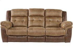Sheffield Two-Tone Brown Leather Gel Dual Reclining Sofa