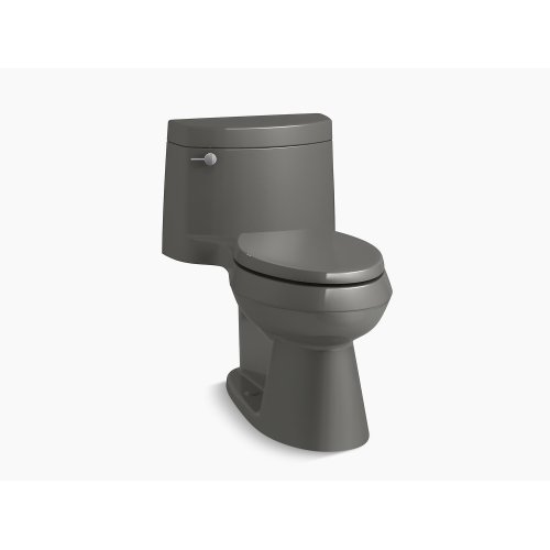 Thunder Grey Comfort Height One-piece Elongated 1.28 Gpf Toilet With Aquapiston Flush Technology, Left-hand Trip Lever and Concealed Trapway