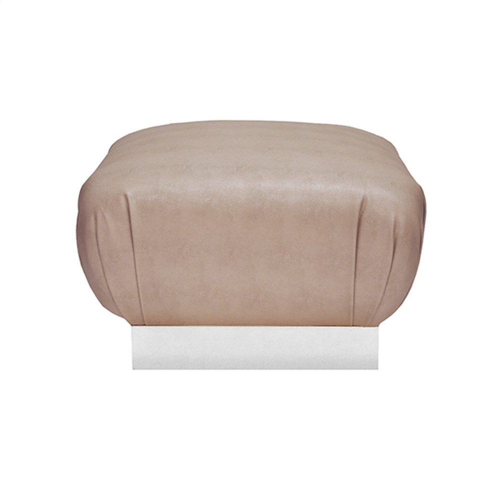 Faux Shagreen Brown Ottoman With Silver Leaf Base - Each Dye Lot May Vary Slightly In Color