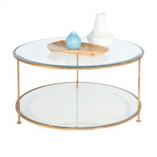 Gold Leaf Iron Round Coffee Table With Beveled Glass Tops.