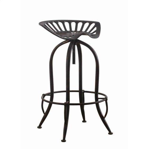 Traditional Antique Black Adjustable Bar Stool