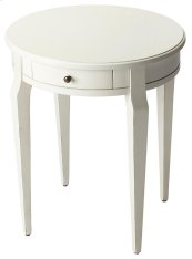 A simple and elegant style with a Cottage White finish, this side table has a casual style. Crafted from wood solids and veneers, this versatile side table can be used in any room of the house. It features a single working drawer with antique brass finis