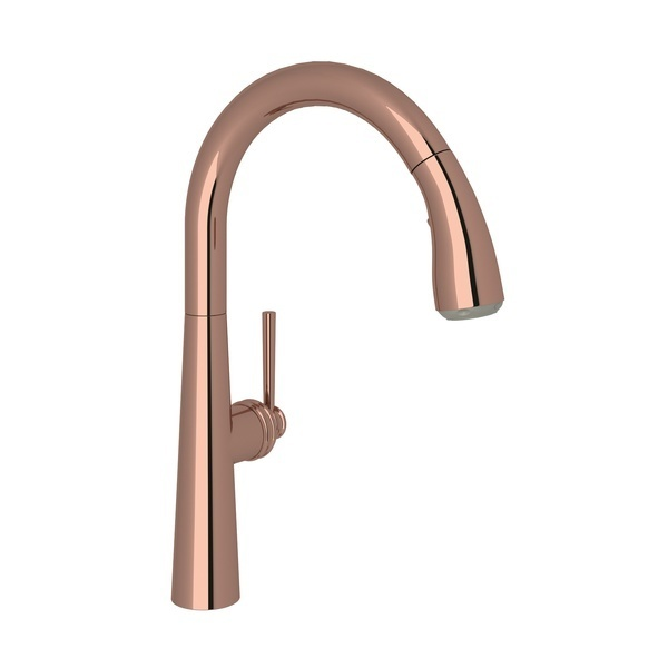 Rose Gold Lux Pull-Down Kitchen Faucet with Lux Metal Lever
