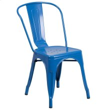 Blue Metal Indoor-Outdoor Stackable Chair