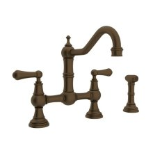 English Bronze Perrin & Rowe Edwardian Bridge Kitchen Faucet With Sidespray with Metal Lever