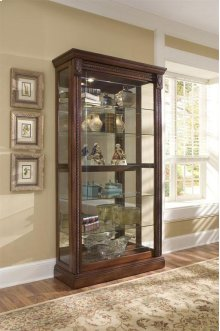 Two Way Slding Dr Curio Medallion Cherry