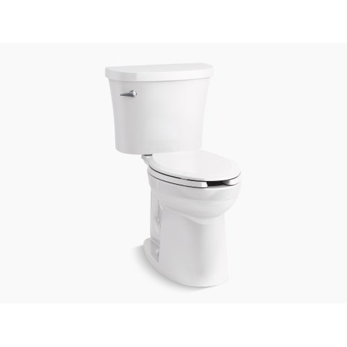 White Comfort Height Two-piece Elongated 1.28 Gpf Toilet With Class Five Flushing Technology and Left-hand Trip Lever, Seat Not Included