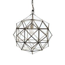 Round Clear Glass Faceted Pendant Uses Single 60w Bulb