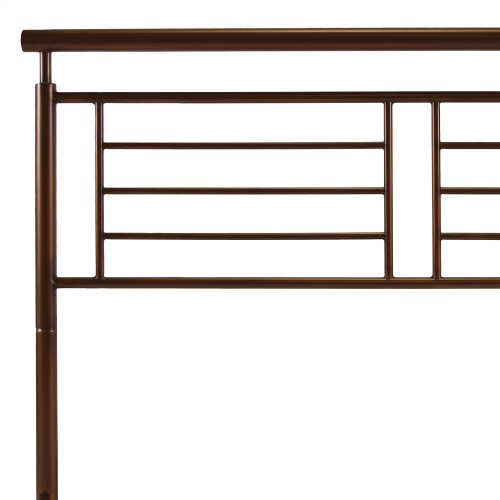 Southport Metal Headboard Panel with Geometric Grill and Rounded Top Rail, Copper Penny Finish, California King