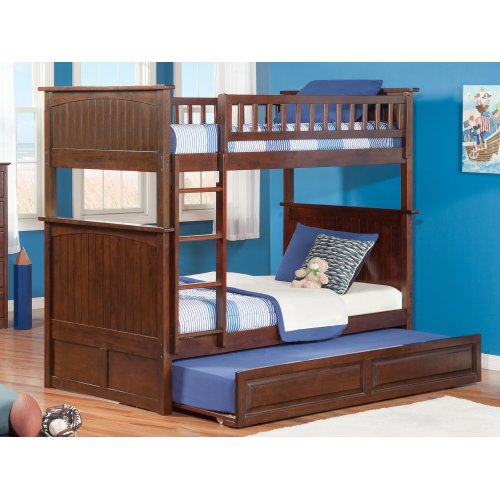 Nantucket Bunk Bed Twin over Twin with Raised Panel Trundle Bed in Walnut