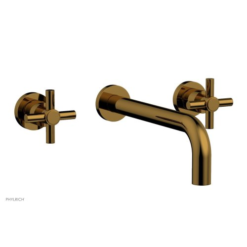 "Basic Wall Tub Set 10"" Spout - Tubular Cross Handles D1134-10 - French Brass"