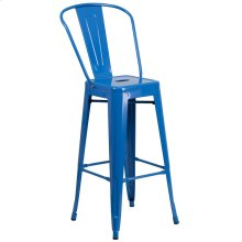 30'' High Blue Metal Indoor-Outdoor Barstool with Back