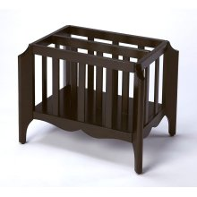 Function, form and beauty have all come together in this beautiful magazine basket. The beautiful shape of the soft curves of the wood are enhanced by the dimensional shape of the legs. Crafted in Rubberwood solids and Rich Oak Veneers that are highlighte