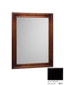 "Traditional 27"" x 35"" Solid Wood Framed Bathroom Mirror in Antique Black"