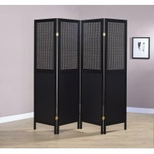 Contemporary Black Four-panel Screen