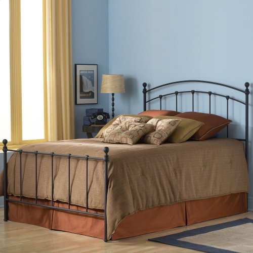 Sanford Bed with Metal Panels and Round Finial Posts, Matte Black Finish, Twin