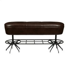 Ale House Bar Bench with Metal Base and Upholstered Seat