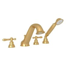 Italian Brass Arcana 4-Hole Deck Mount Tub Filler & Handshower with Arcana Series Only Classic Metal Lever