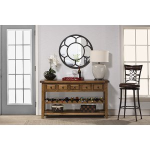 Hillsdale FurnitureTuscan Retreat(r) Wine Rack Hall Table With 5 Drawers - Old World Pine