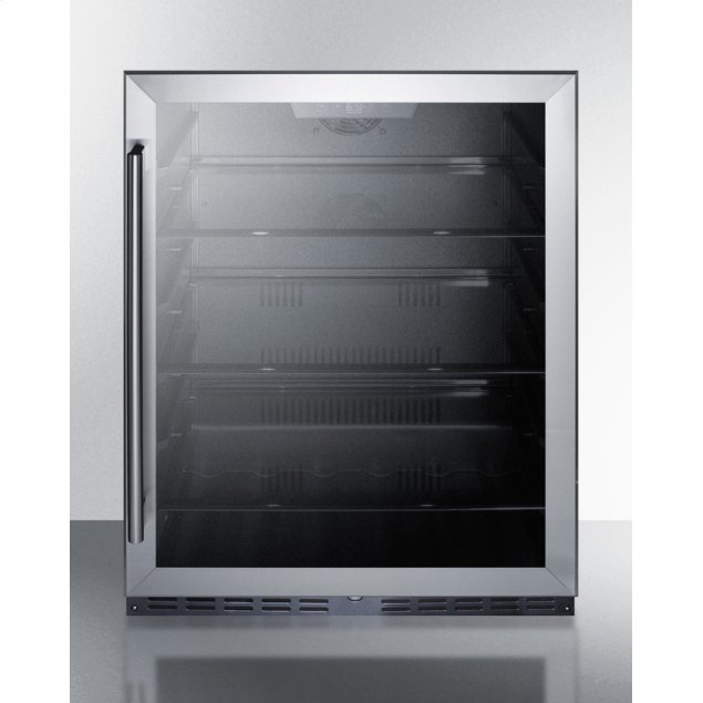 """Summit 24"""" Wide Built-in ADA Compliant Commercial Beverage Center for Display and Refrigeration of Beverages and Food, With Glass Door, Digital Controls, Front Lock, LED Lighting, and Black Cabinet"""