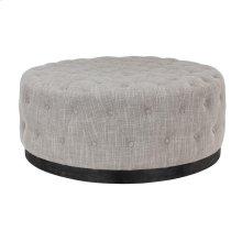 Reed Round Ottoman Gray