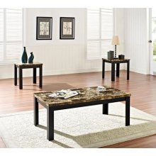 3PC PK C/E TABLES W/BK FAUX M