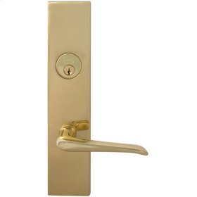 Exterior Modern Mortise Entrance Lever Lockset with Plates in (US3 Polished Brass, Lacquered)