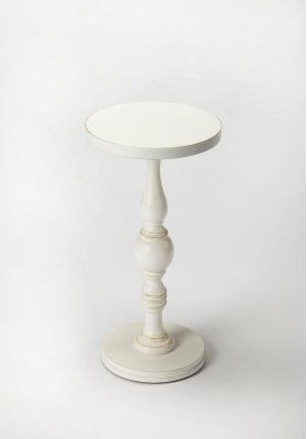 Elaborately carved pedestal connects the base with the double-decked tabletop to create a compelling aesthetic for a favorite nook or cranny. Crafted from rubberwood solids and wood products with a cherry veneer top in a Cottage White finish.