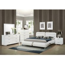 Felicity Contemporary White Upholstered Queen Bed