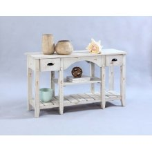 Console Table - Distressed White Finish