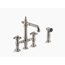 Vibrant Stainless Deck-mount Bridge Bar Sink Faucet With Prong Handles and Sidespray