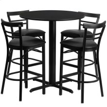 24'' Round Black Laminate Table Set with 4 Ladder Back Metal Barstools - Black Vinyl Seat